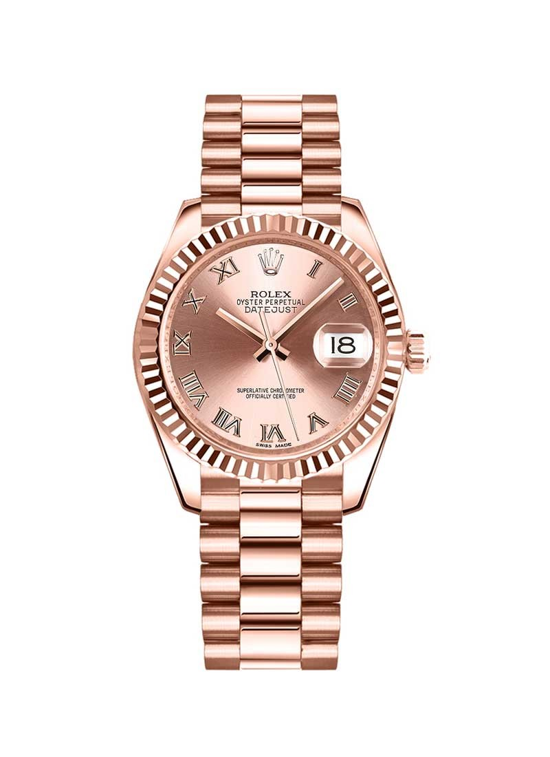 Rolex Unworn Datejust 31mm in Rose Gold with Fluted Bezel