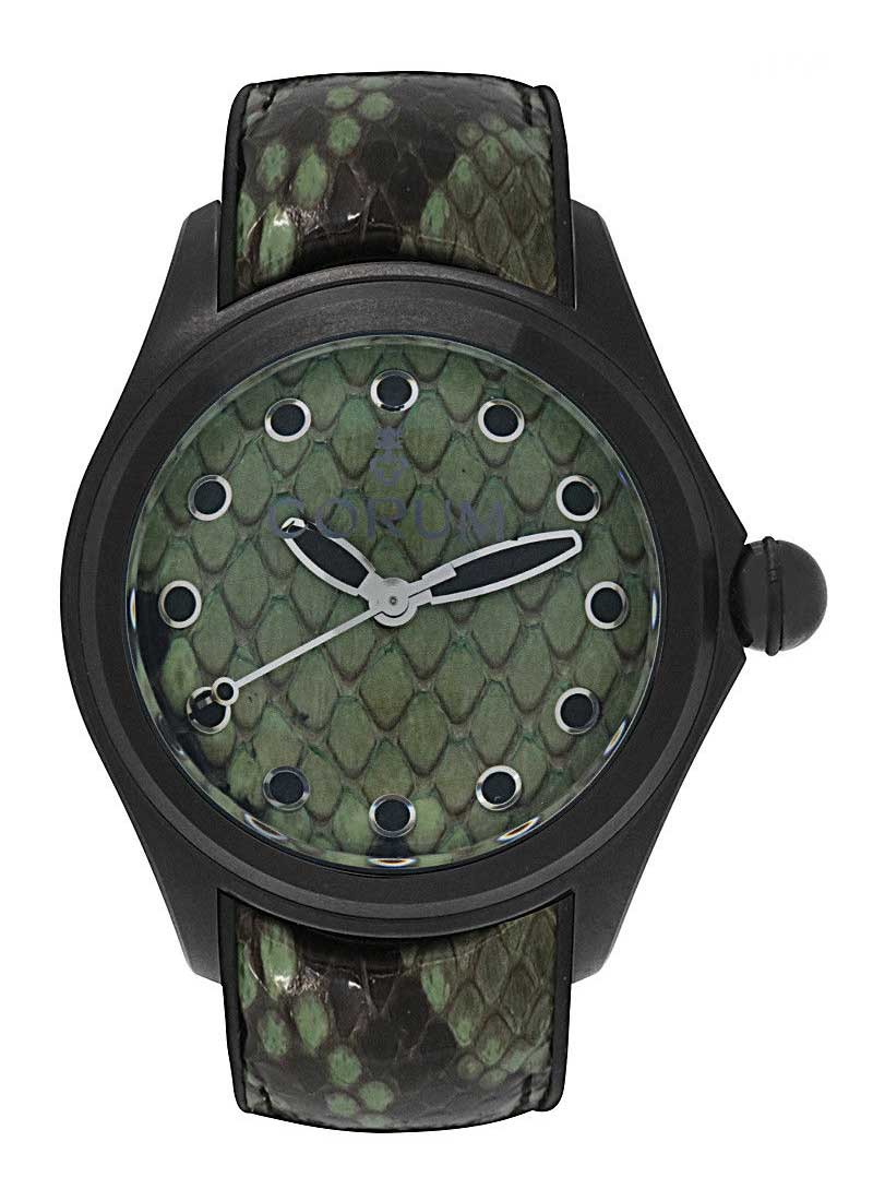 Corum Bubble Green Python in Black PVD Stainless Steel