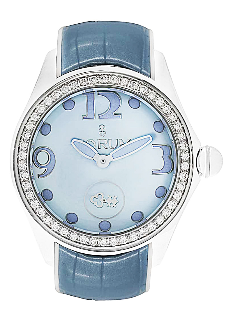 Corum Bubble Blue MOP in PVD and Steel with Diamond Bezel