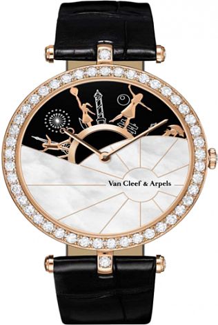 Van Cleef Arpels A Day in Paris  38mm in Pink Gold with Diamond Bezel