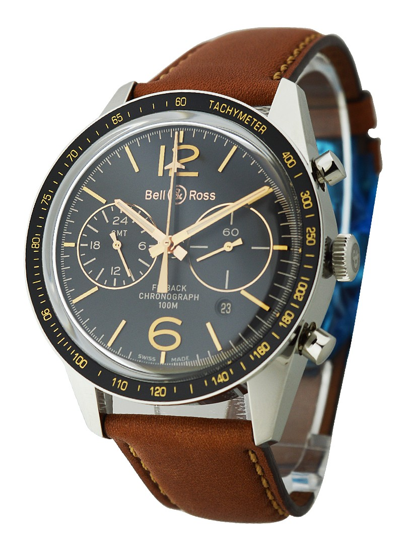 premium selection c1bf5 ba88b Vintage BR 126 Sport Heritage GMT and Flyback Chronograph in Steel