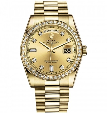 Rolex Used Yellow Gold President wth Diamond Bezel