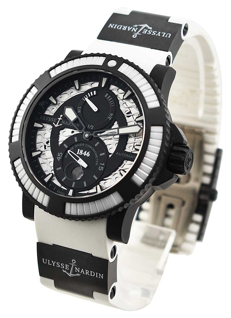 Ulysse Nardin Diver Black Sea 45.8mm in Steel and Matte Black Rubber with White Ceramic Bezel