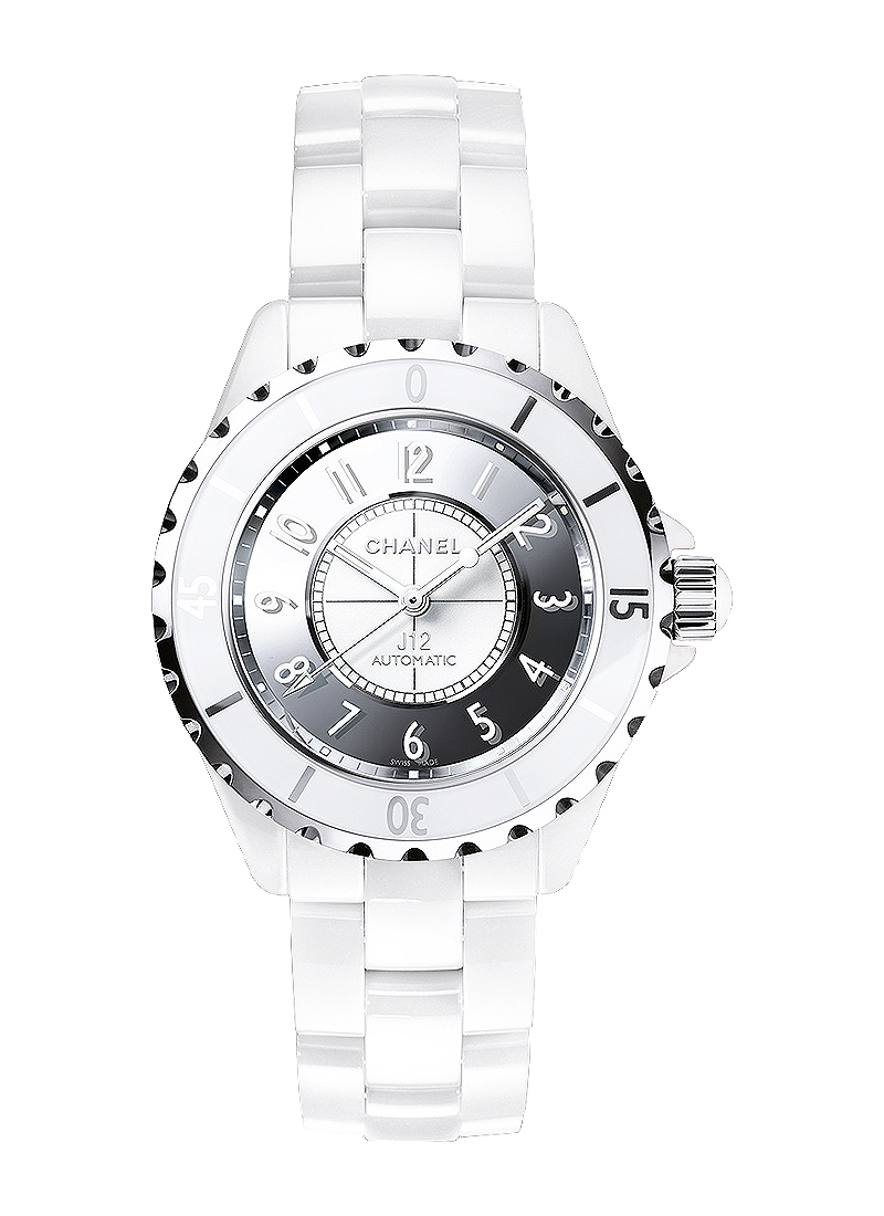 Chanel J12 38mm Automatic in Steel Rimmed with White Ceramic Bezel