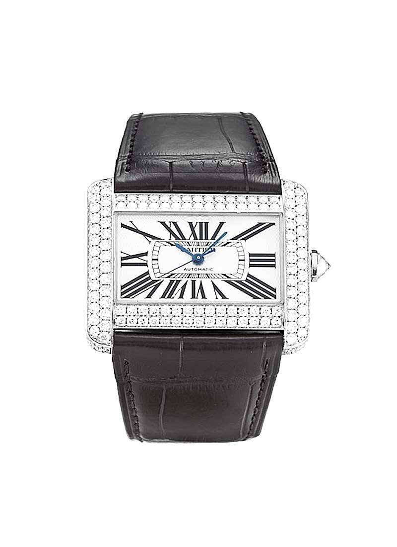 Cartier Tank Divan 32mm in White Gold with Diamond Bezel