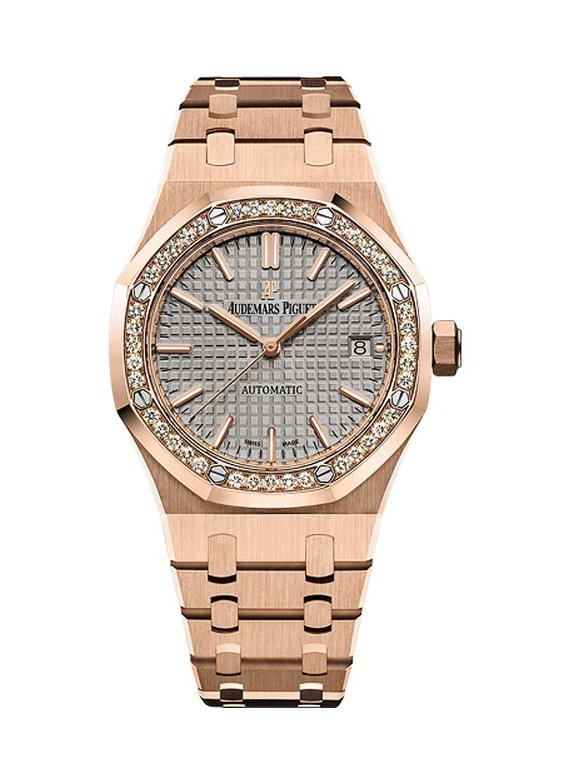 Audemars Piguet Royal Oak 37mm in Rose Gold with Diamond Bezel