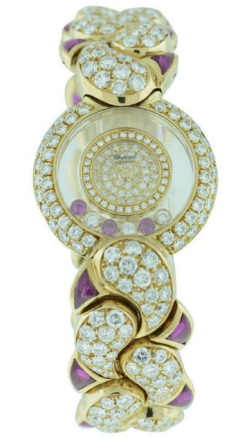 Chopard Happy Diamond Bangle in Yellow Gold with Diamond Bezel