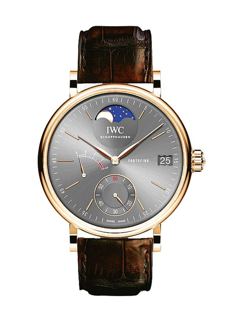 IWC Portofino Hand-Wound Eight Days Moonphase 45mm in Red Gold