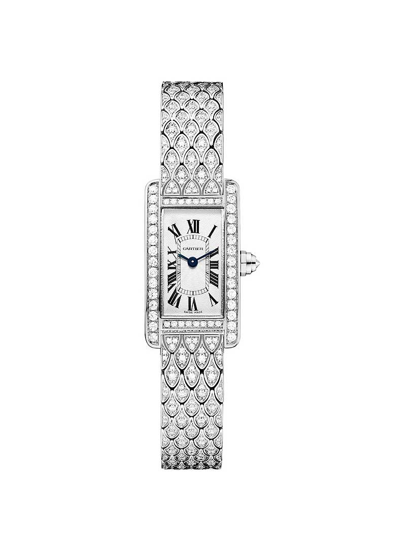 Cartier Tank Americaine in White Gold with Dimaond Bezel