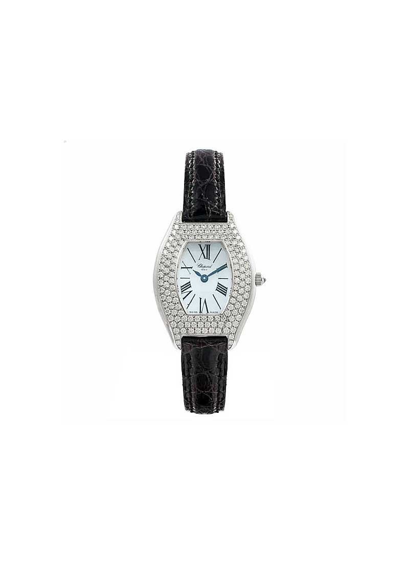 Chopard Ladies Tonneau in White Gold with White Gold Diamond Bezel
