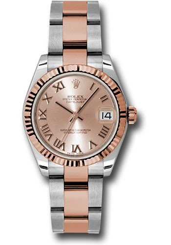 Rolex Unworn Datejust 31mm in Steel with Rose Gold Fluted Bezel