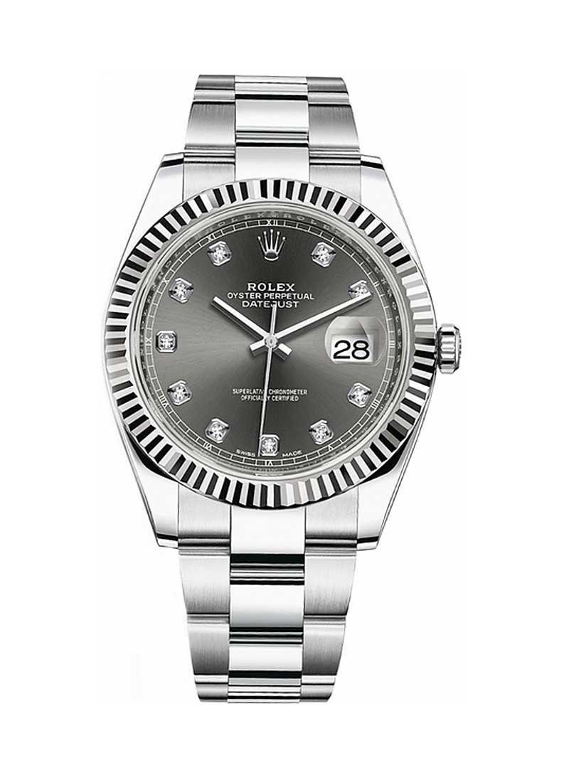 Rolex Unworn Datejust 41mm in Steel with  White Gold Fluted Bezel