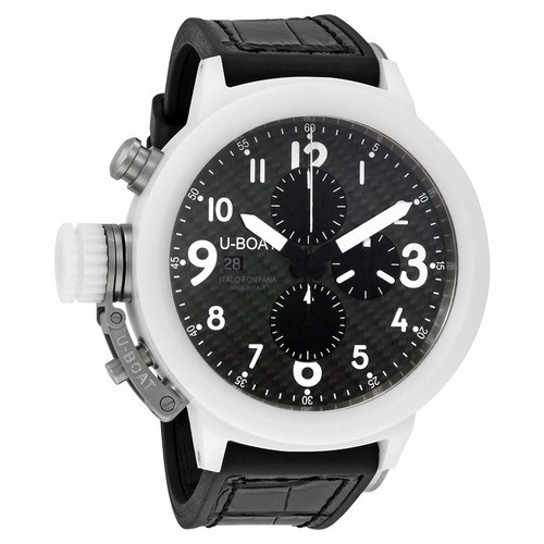 U-Boat Flightdeck Chronograph 50mm Automatic in White Ceramic with White Ceramic Bezel