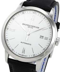 0663cc3d7f3 Classima 42mm Automatic in Stainless steel on Black Leather Strap with  White Roman Dial