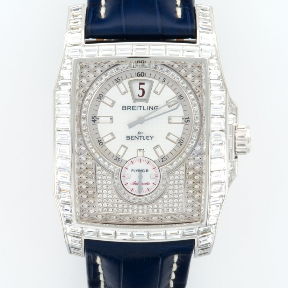 Breitling Bentley Flying B Baguette Diamond in White Gold with Diamond Bezel