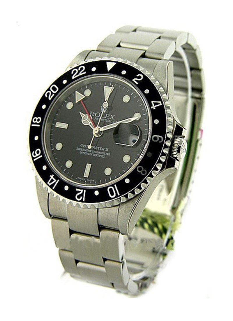 Pre-Owned Rolex GMT Master II 40mm in Steel with Black Bezel