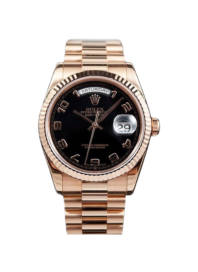 Pre-Owned Rolex President Day Date in Rose Gold with Fluted Bezel