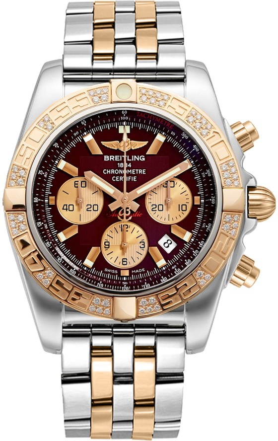 Breitling Chronomat 44mm in Polished Steel with Rose Gold Diamond Bezel