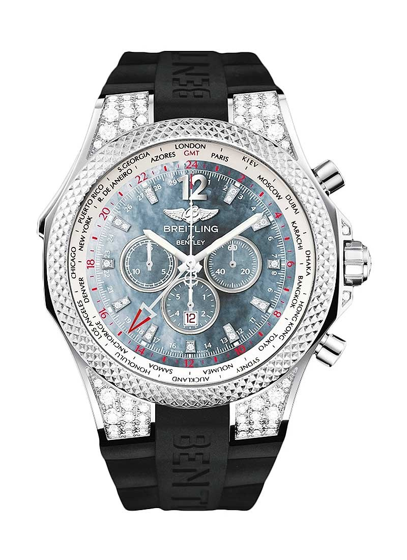 Breitling Bentley GMT Midnight Carbon 49mm in White Gold with Diamond Bezel