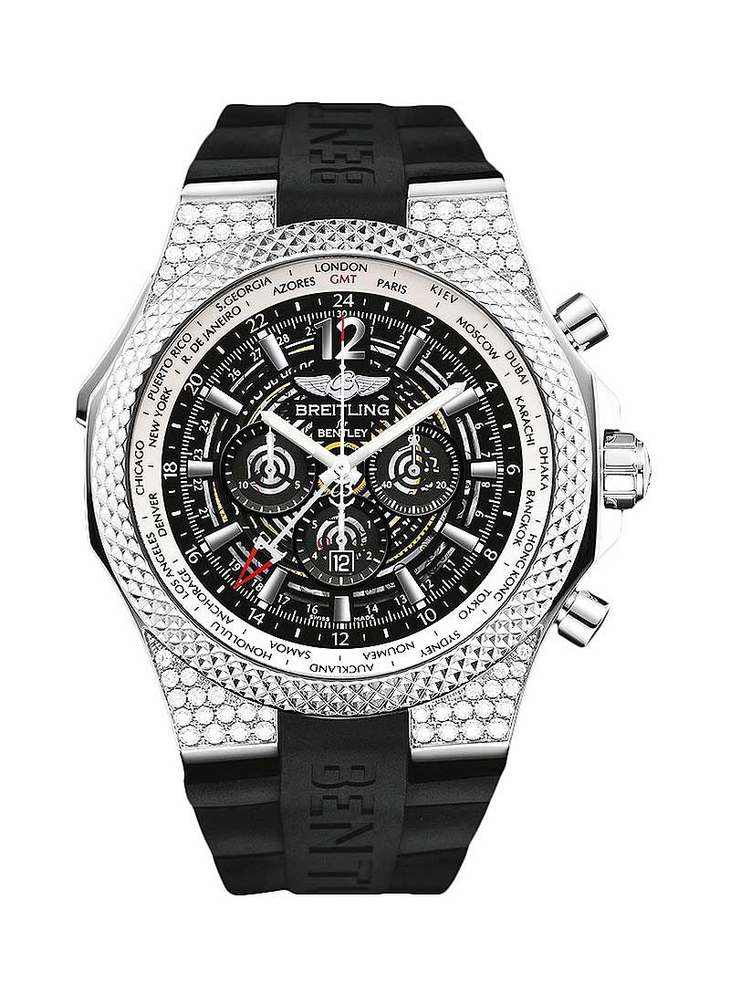 Breitling Bentley GMT Midnight Carbon 49mm in Steel with Diamond Bezel
