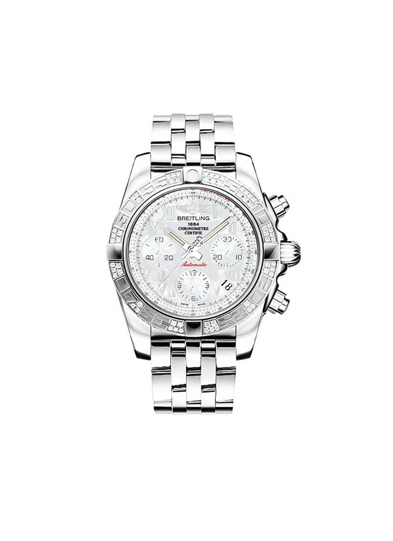 Breitling Chronomat 41 Chronograph in Steel with Diamond Bezel