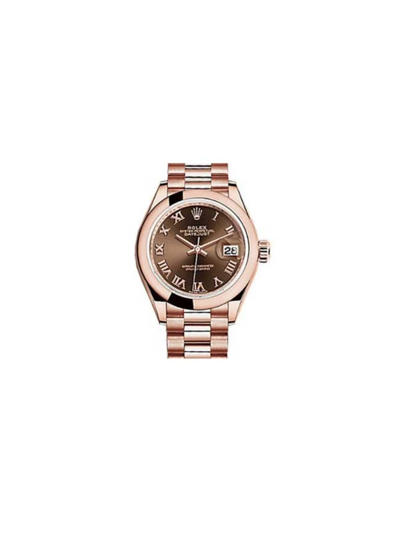 Rolex Unworn Datejust Ladies 28mm Automatic in Rose Gold with Domed Bezel