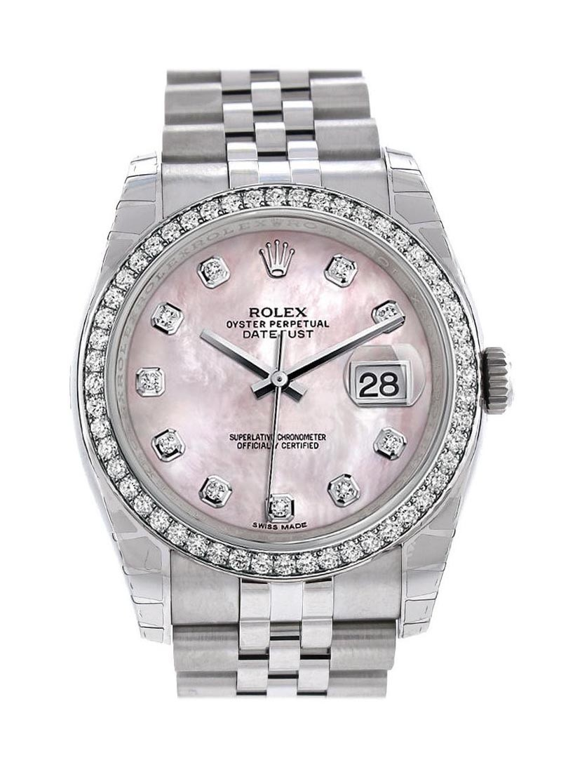 Rolex Unworn Datejust 36 mm in Steel with White Gold Diamond Bezel