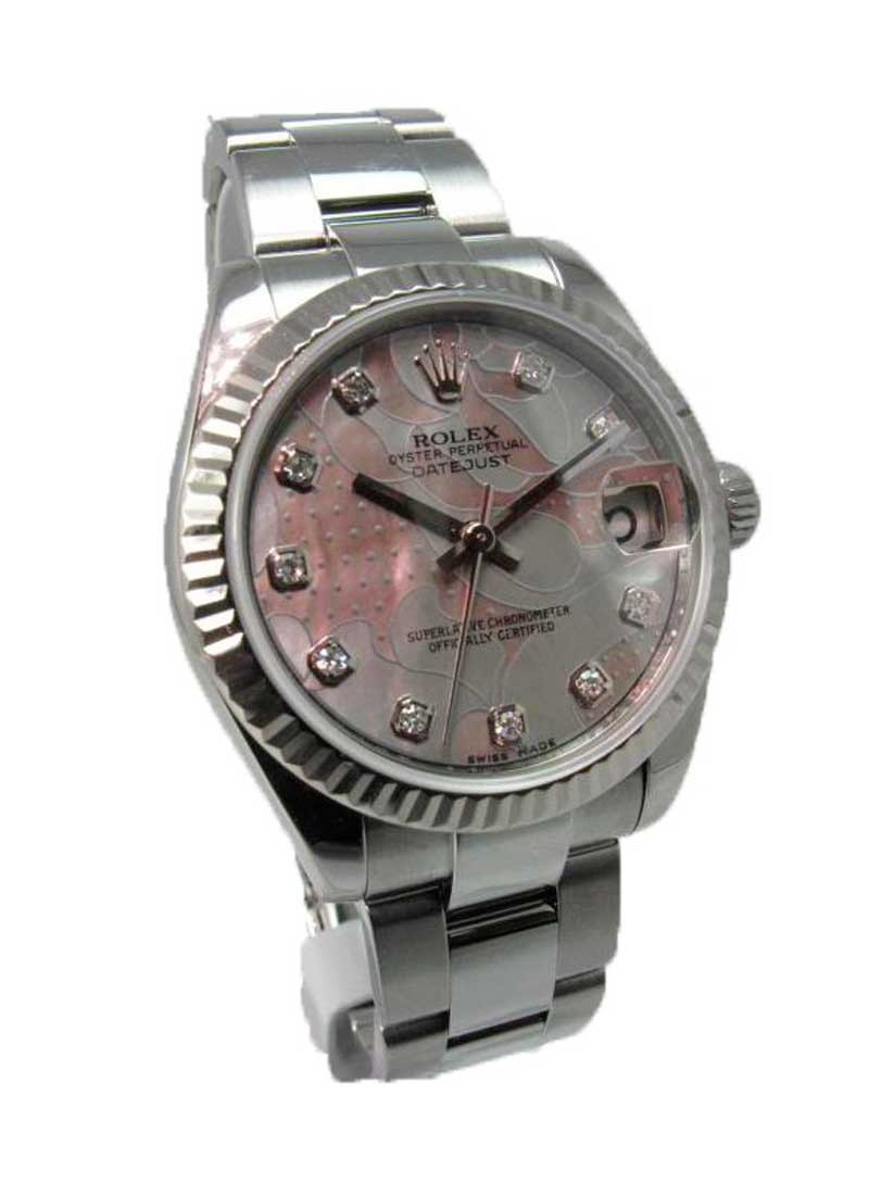 Rolex Unworn Datejust Mid Size in Steel with White Gold Fluted Bezel