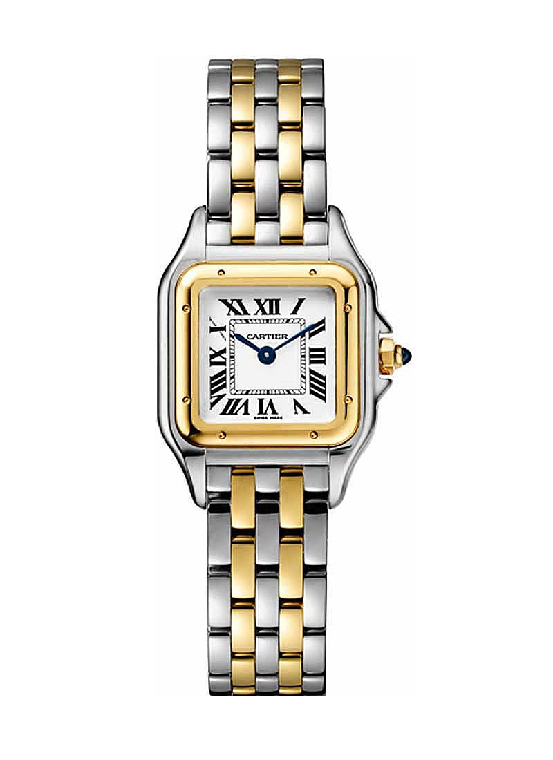Cartier Panther De  Small Size in Steel with Yellow Gold Bezel