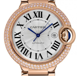 872d6fabc841 Ballon Bleu De 42mm in Rose Gold with Diamond Bezel on Rose Gold Bracelet  with White