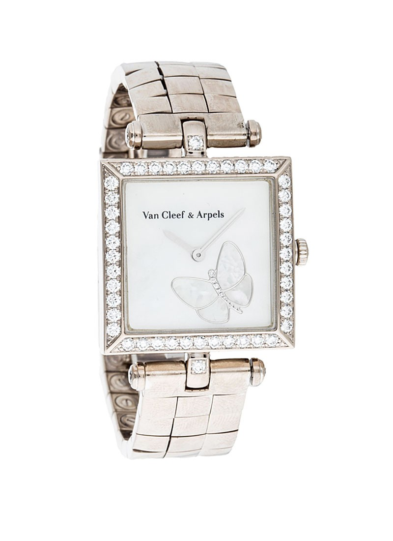 Van Cleef Classique Square Papillon in White Gold with Diamond Bezel and Lugs