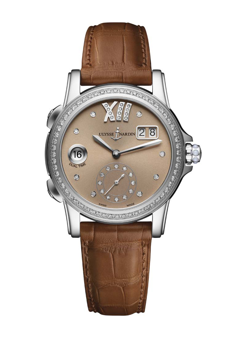 Ulysse Nardin Classic Dual Time 37.5mm in Steel with Diamonds Bezel