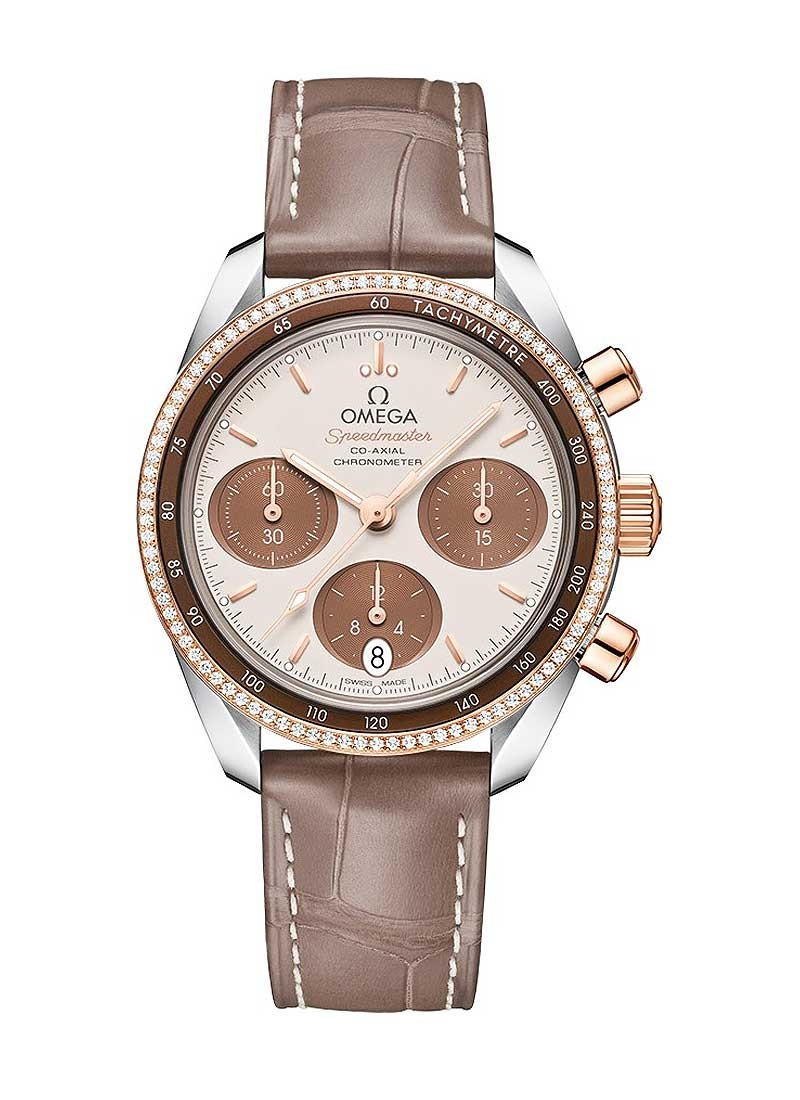 Omega Speedmaster Co-Axial Chronograph 38mm in Steel and Rose Gold with Diamond Bezel