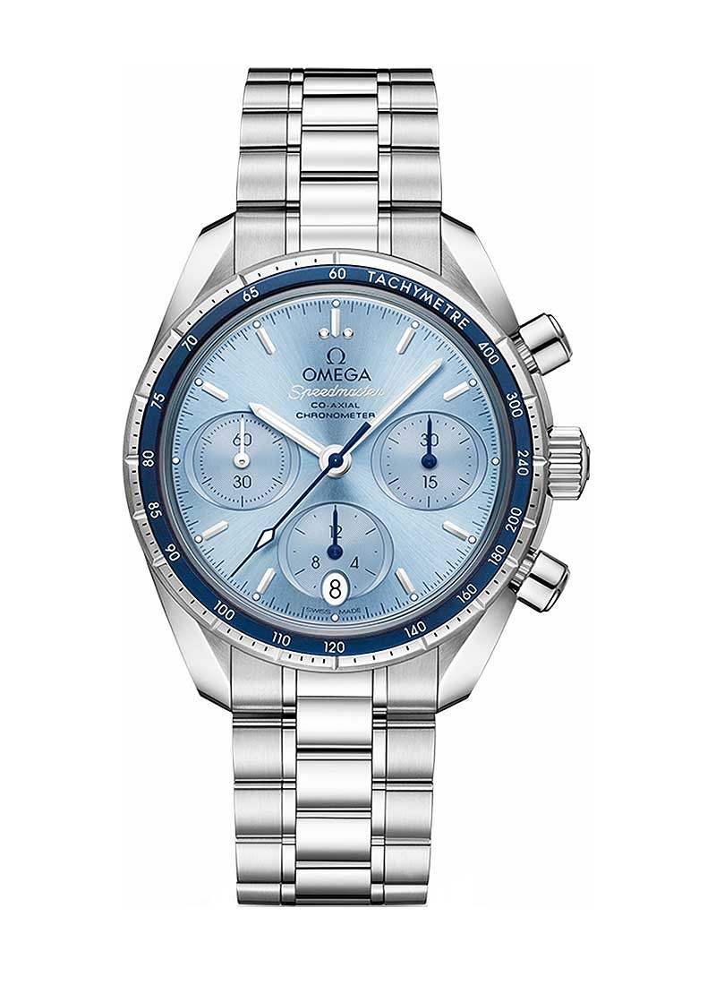 Omega Speedmaster Co-Axial Chronograph 38mm in Steel with Blue Aluminum Bezel