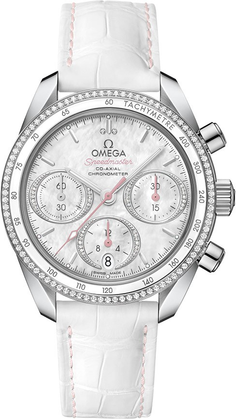 Omega Speedmaster Co-Axial Chronograph  in Steel and Diamonds and Inner White Ceramic Bezel