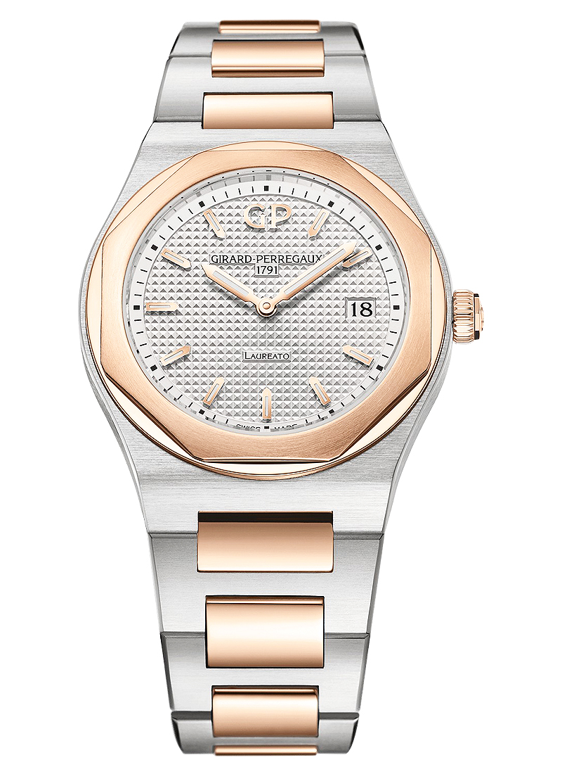 Girard Perregaux Laureato 34mm Quartz in Steel with Rose Gold Bezel