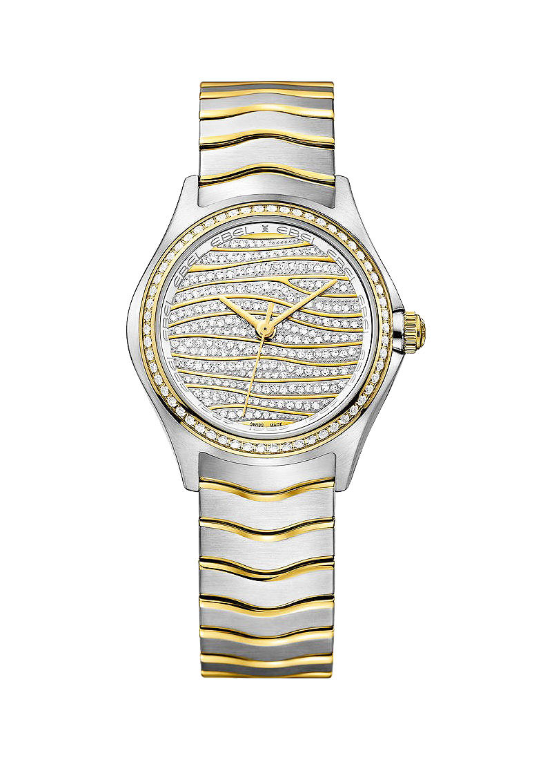 Ebel Wave 30mm Quartz in Steel and Yellow Gold with Diamond Bezel