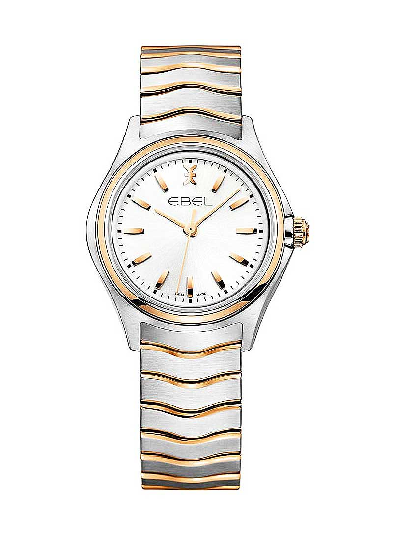 Ebel Classic Wave 30mm Quartz in Steel with Rose Gold Bezel
