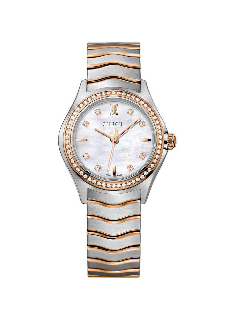 Ebel Wave 30mm Quartz in Steel with Rose Gold with Diamond Bezel