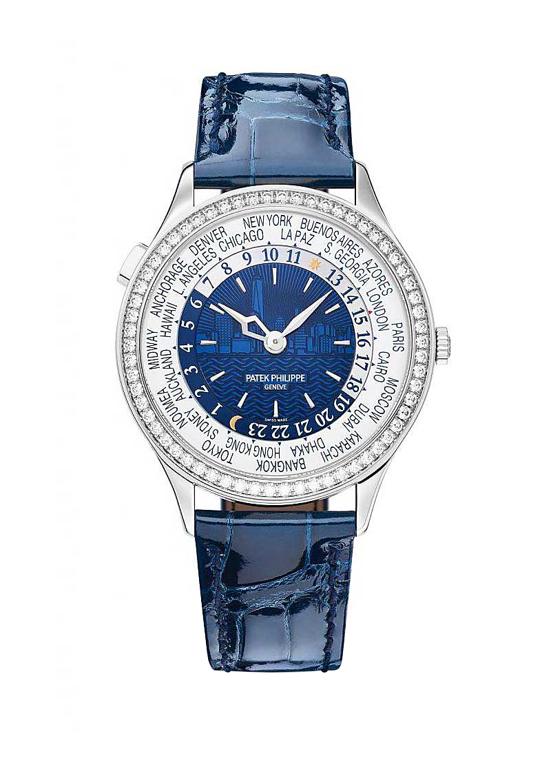 Patek Philippe World Time 7130G New York Special Edition in White Gold with Diamond Bezel