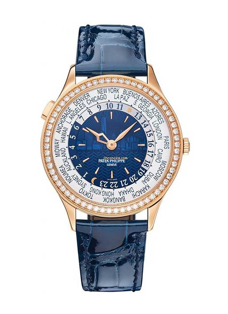 Patek Philippe World Time 7130 New York Special Edition in Rose Gold with Diamond Bezel