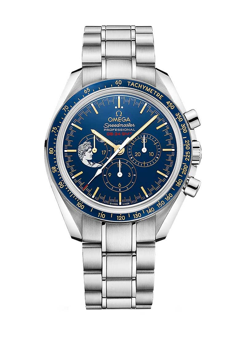 Omega Speedmaster Professional Moonwatch Apollo XVII 45th Anniversary 42mm in Steel and Ceramic with Blue
