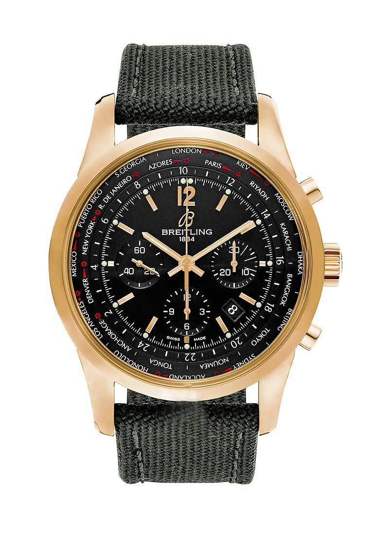 Breitling Transocean Chronograph Unitime Pilot in Rose Gold