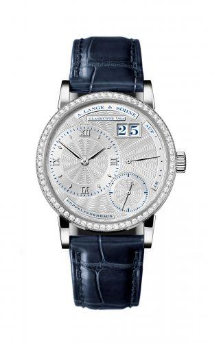 A. Lange & Sohne Kleine Lange 1 20th Anniversary in Platinum with Diamond Bezel