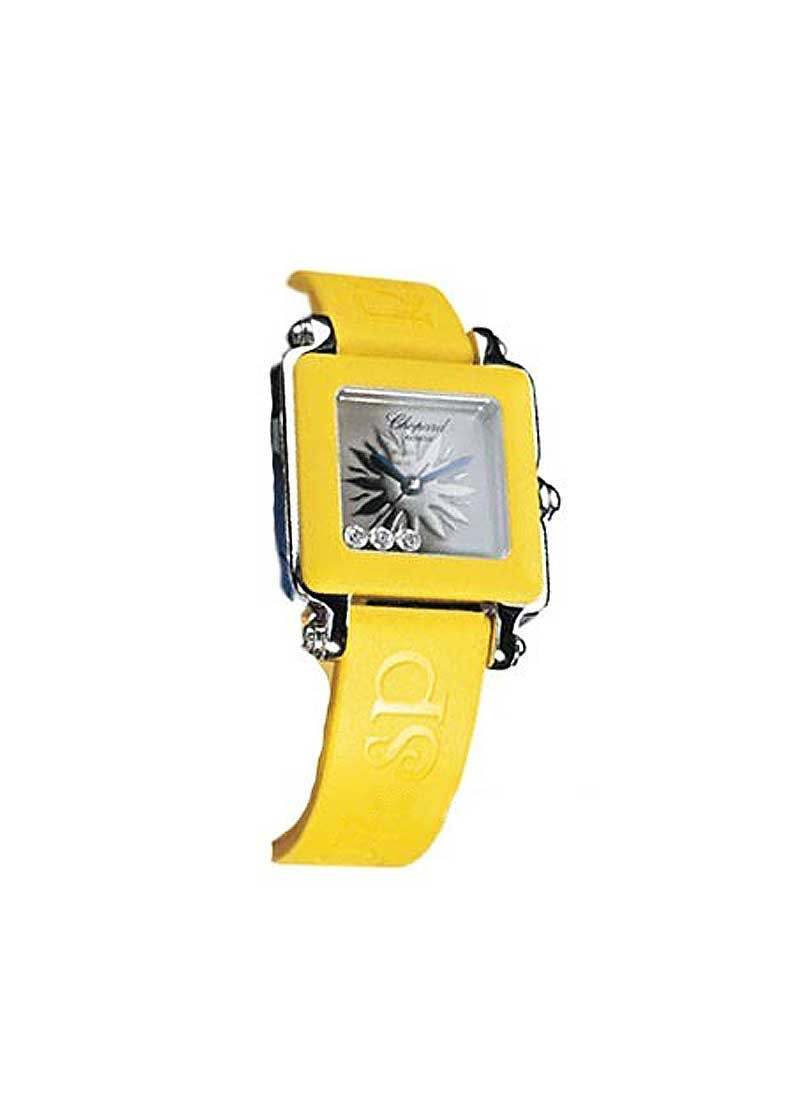 Chopard Happy Sport Square in Steel with Yellow Rubber Bezel
