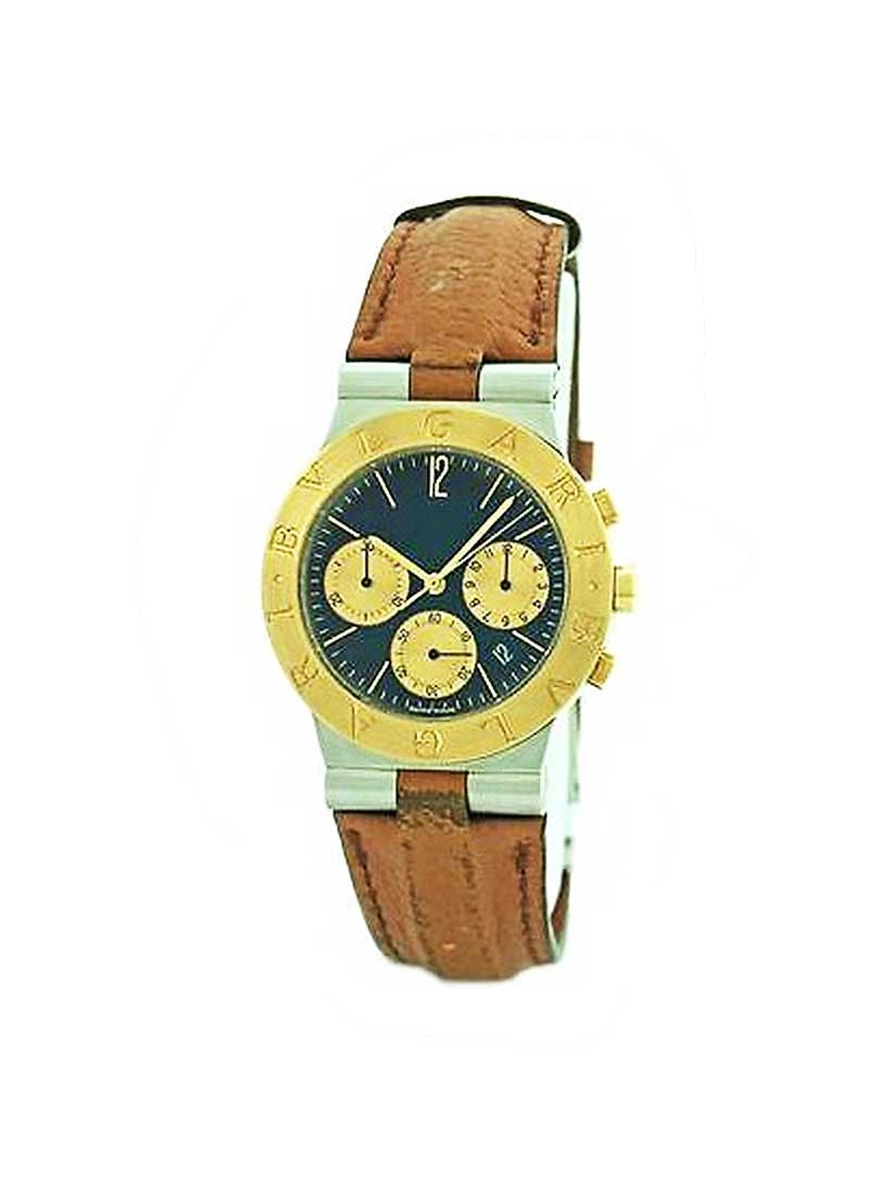 Bvlgari Diagono Chronograph 35mm Quartz in Steel with Yellow Gold Bezel