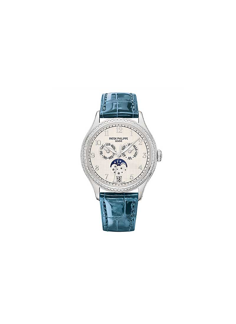 Patek Philippe Annual Calendar 4947 Moonphase in White Gold with Diamond Bezel