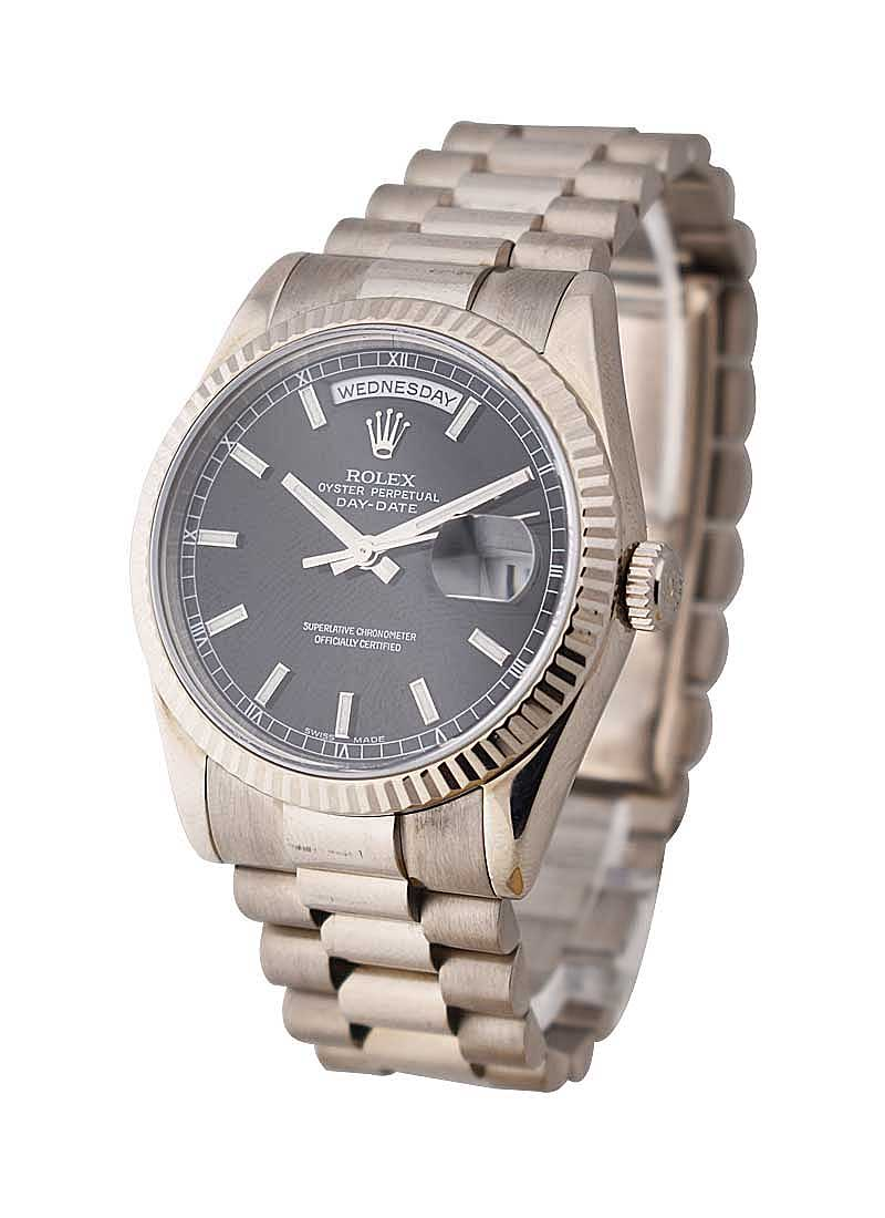 Pre-Owned Rolex President - 36mm - White Gold - Fluted Bezel