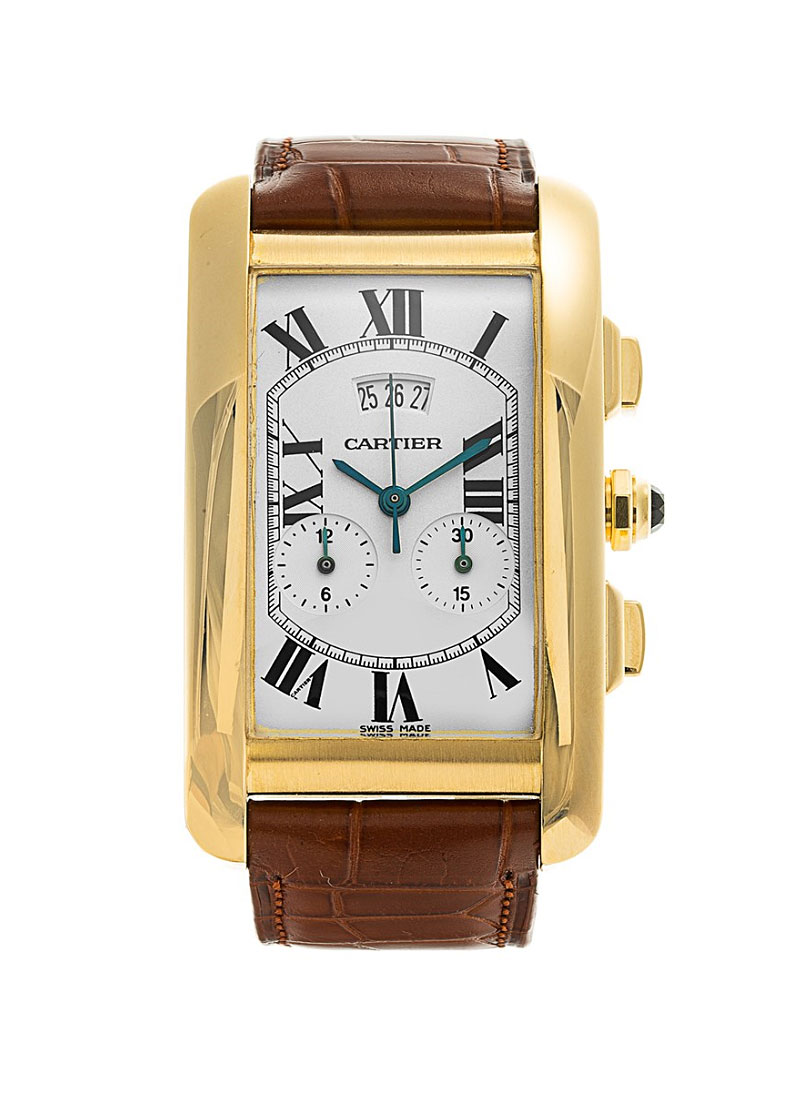 Cartier Tank Americaine XL Chronoflex in Yellow Gold