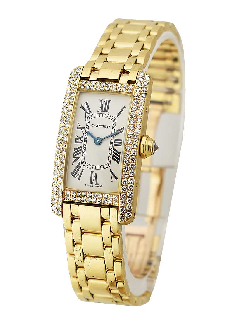 Cartier Tank American Small Size in Yellow Gold with Custom Diamond Bezel